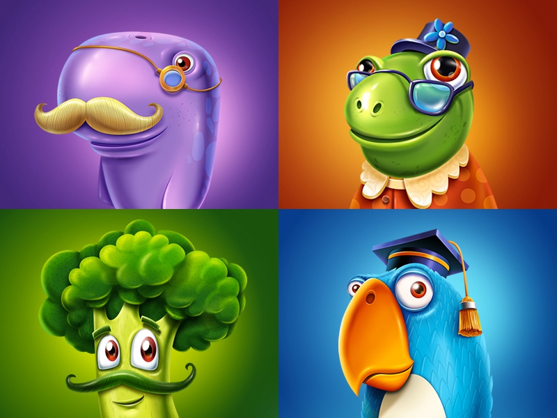Game characters character game sketch emotion smile eye ios background glass monster food bird