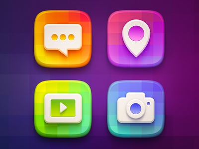 Icon Set set icon illustration pin message camera play video flat clean ios