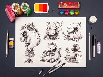 Characters character sketch illustration paper smile game color pencil
