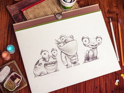 Characters character wood notapad sketch leather illustration paper smile game ios ipad