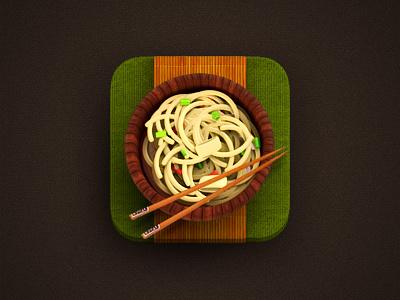 App icon iphone ipad ui icon button food japan plate wood