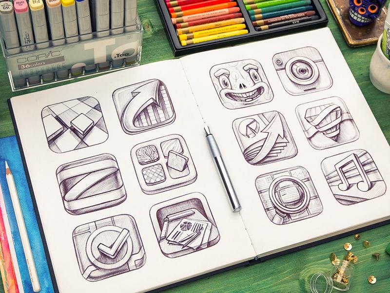 iOS icons set icon ios ipad iphone arrow zoom map smile camera pencil wood
