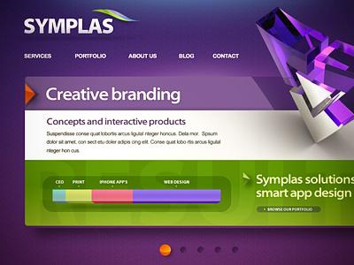 Symplas website web 3d ui site design webdesign 2.0 button navigation