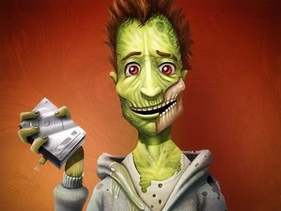 Zombie hosting zombie drive hard green character illustration