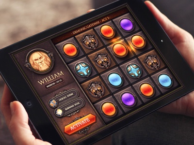 iOS Game / Match3! game ios ipad iphone match3 sphere typography button metal shine glow character
