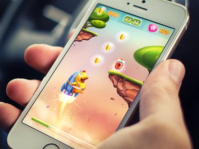 iOS Game / Arcade game ios iphone arcade stone grass character rocket sketch navigation menu chicken