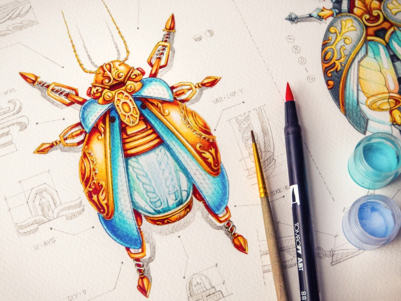 Bugs (Rezonum & Collectoris) paper sketch pencil bug glass metal character illustration liquid energy gold steampunk