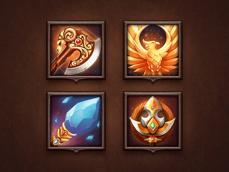 Icon Set metal wood icon illustration rpg sketch shine glow weapon gold light background