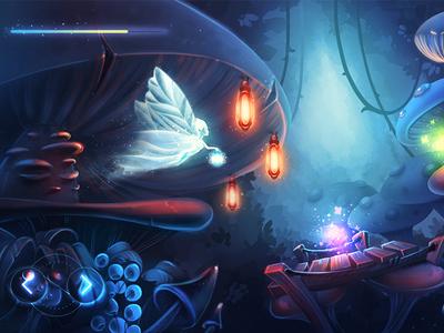 iOS Game / Platformer ios game arcade character sketch glow shine butterfly mushroom night