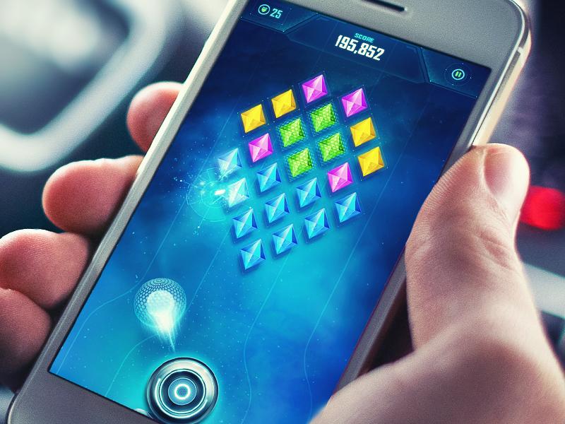 iOS Game / Arcade ios game iphone arcade sketch button interface space sphere glass gem glow