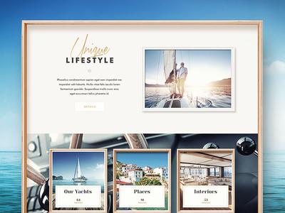 Web Design web design typography water interface navigation yacht sea wood ui button flat