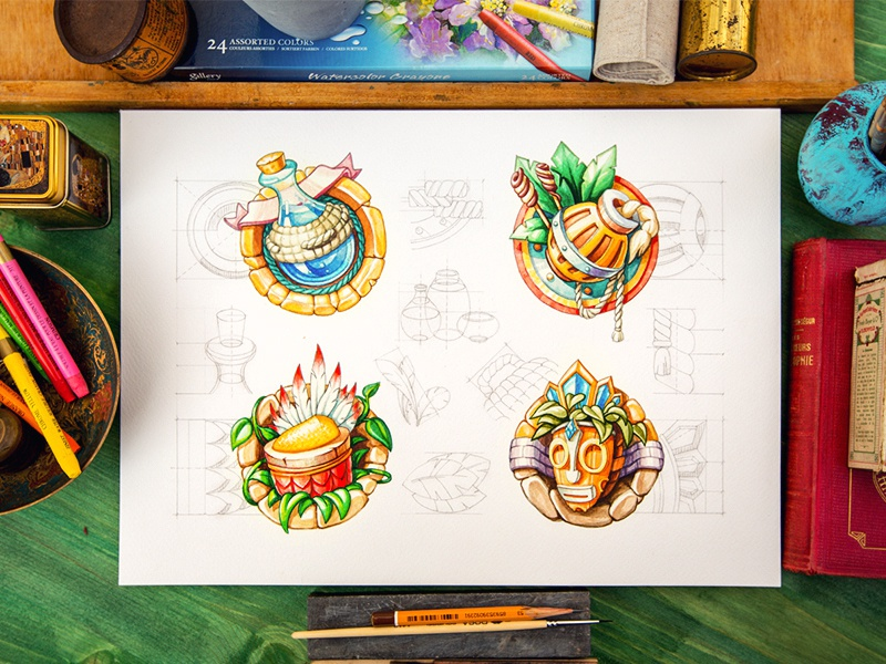 Icon set icon set illustration sketch glass stone leaf wood metal game rpg