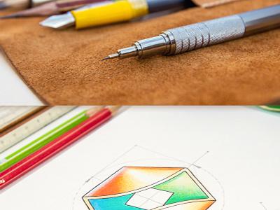 Logotypes logotype logo sketch identity pencil leather notepad paper glow shine scheme