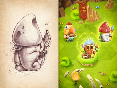 iOs Game ios game interface iphone ipad character sketch grass wood stone shine glow
