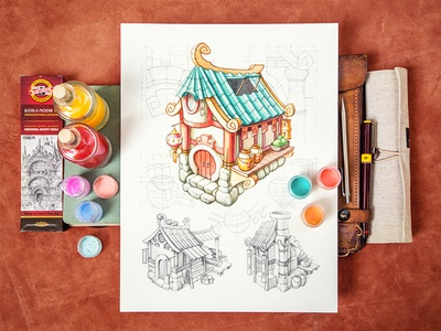 House / RPG house rpg paper notepad sketch ios game china food wood color
