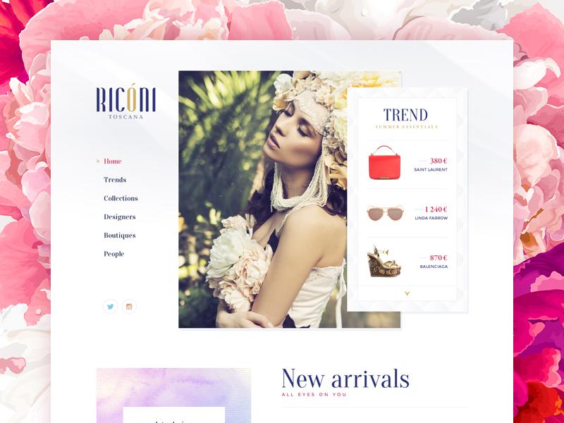 Riconi / Website shop web design site typography font fashion navigation menu logotype portfolio flower