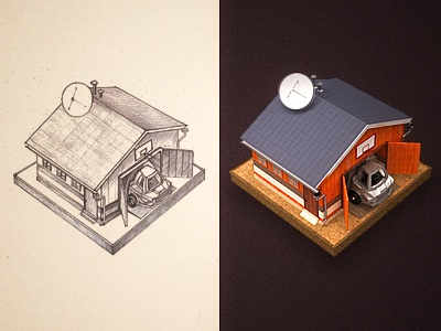 Garage icon sketch pencil paper garage car illustration handmade house home