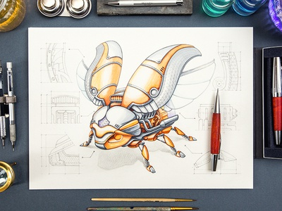 Bug sketch character game icon gold metal pencil paper steampunk
