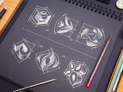 Symbols logotype logo sketch identity notepad 3d branding ink white