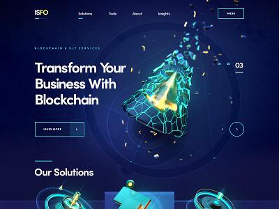 ISFO / Blockchain solutions logo business security graphic design motion graphics ui typography animation blockchain 3d web illustration icon design