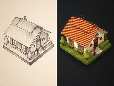 House  icon illustration sketch pencil handmade paper home house