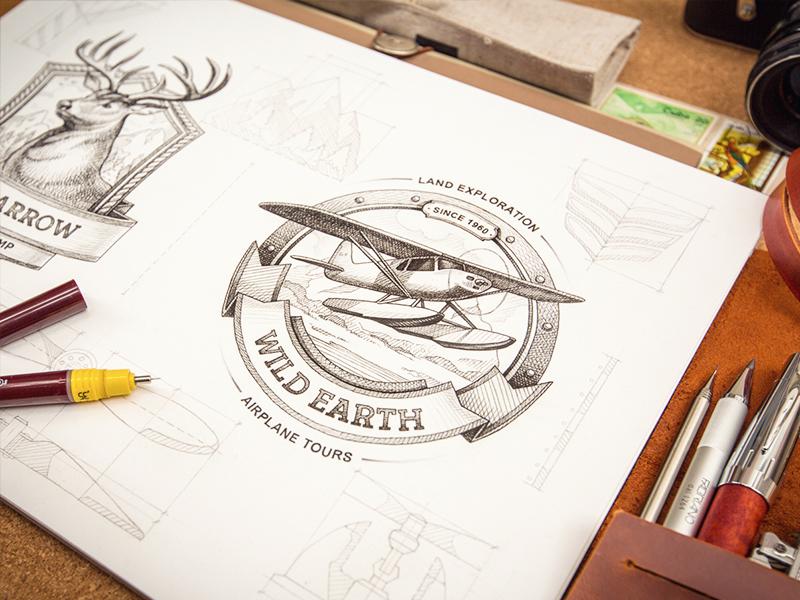 Badge logotype sketch identity branding badge logo plane deer typography type