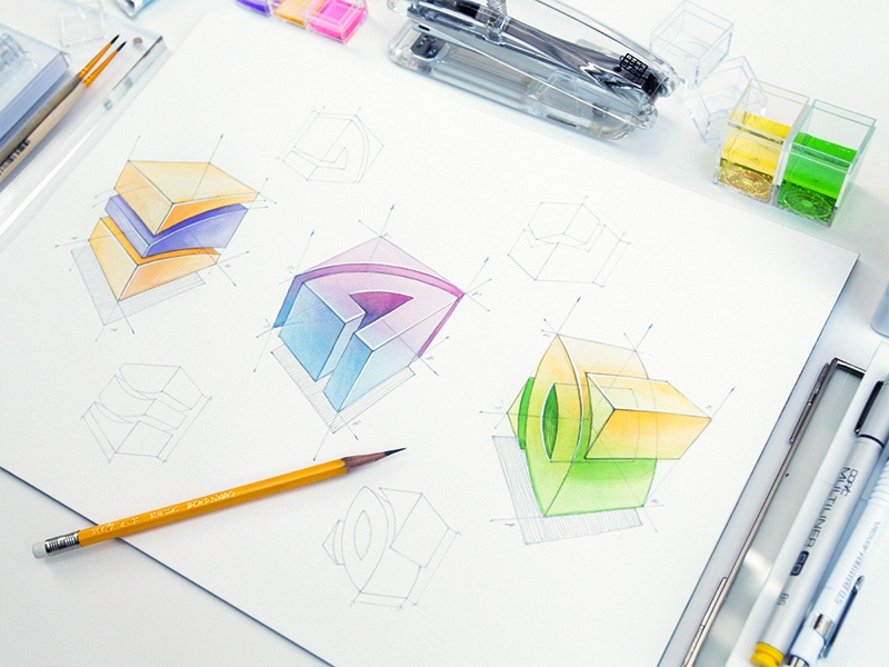 Logotype sketch identity logo paper watercolor cube symbol logotype