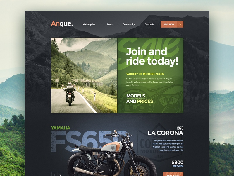 Web Design web site design typography navigation menu bike motorcycle retro vintage