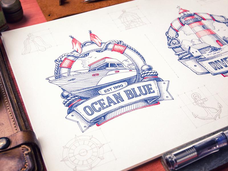 Ocean Blue logotype sketch identity branding badge lighthouse logo yacht typography type travel tourism