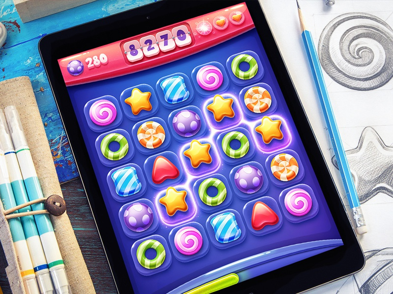 iOS Game / Match-3 game ios iphone ipad interface sketch candy saga shine glow glass button