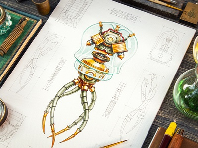 Steam-powered jellyfish iron copper gold sketch steampunk metal glass paper wood jellyfish pencil