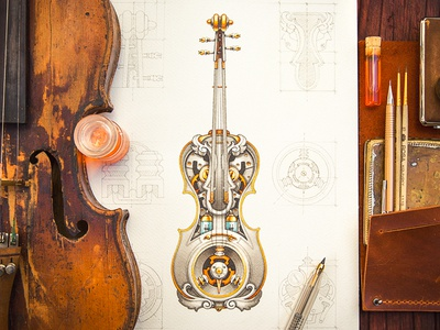 Steampunk violin steampunk sketch gold metal wood pencil paper violin music instrument sound leather