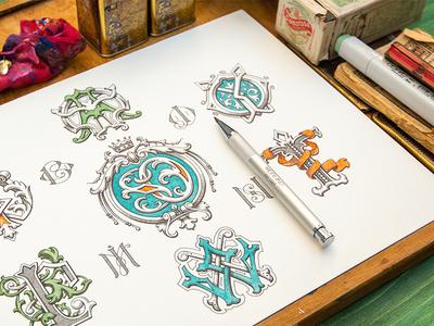 Monogram logotype monogram sketch identity branding badge letter logo typography type