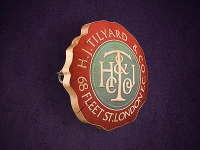 H.J.Tilyard icon illustration metal gold badge retro old rustic vintage purple
