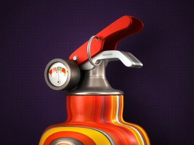 Extinguisher icon illustration color oxygen metal sensor pressure extinguisher fire