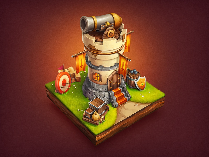 iOs Game / Tower house stone grass wood game ios icon sketch rpg tower defence