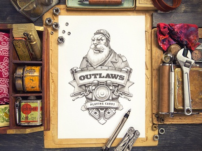 """Outlaws"" Playing Cards sketch character card game wood paper instrument tool deck"