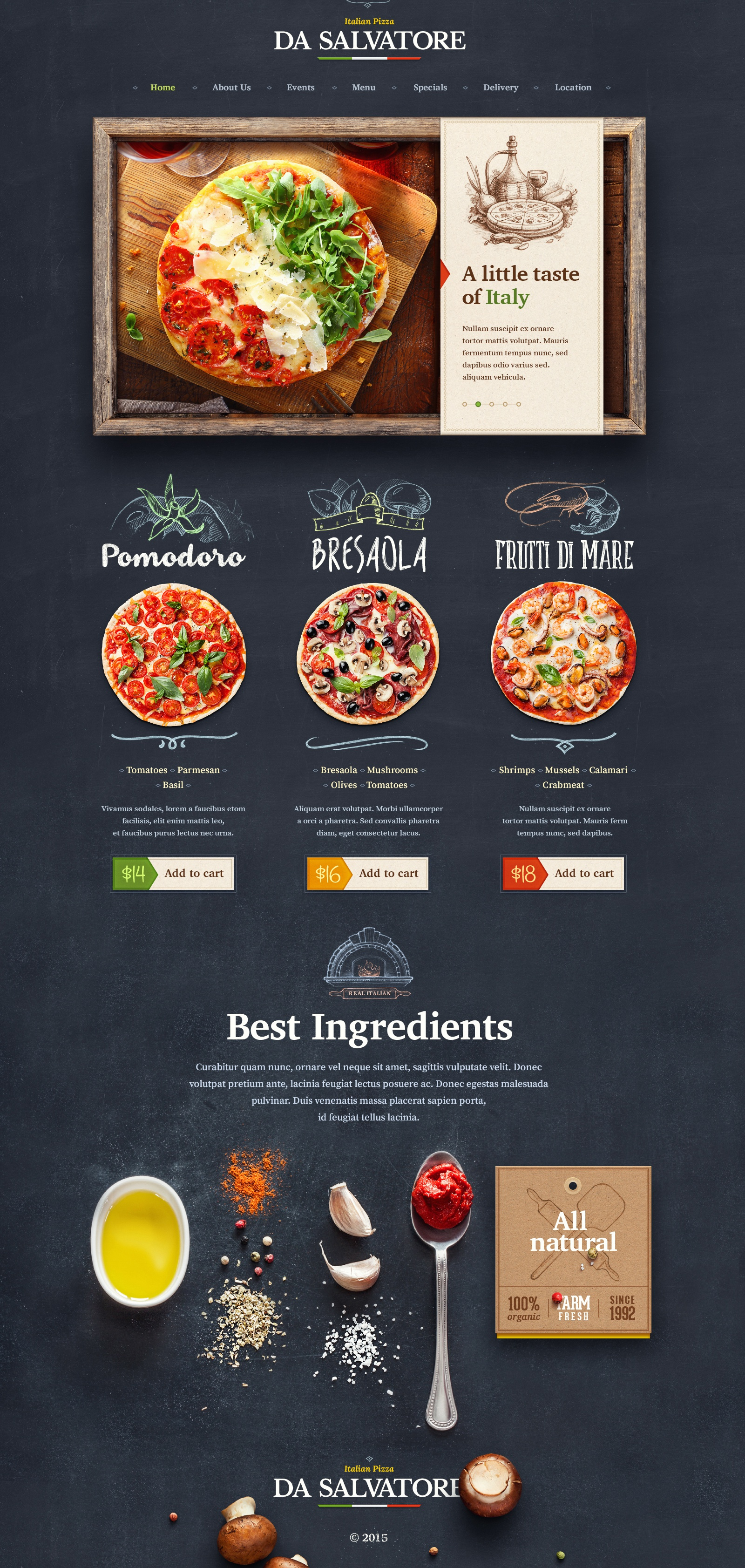Dribbble pizzeria web by mike creative mints for Cuisine website