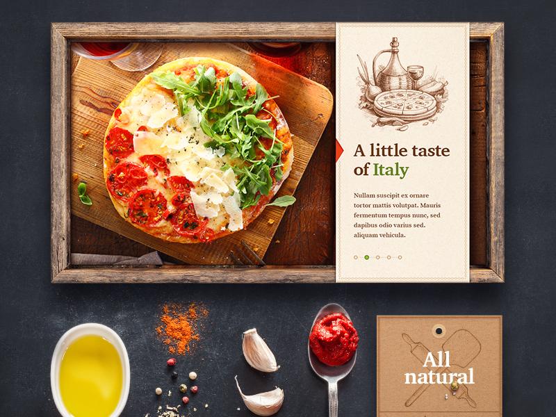 Pizzeria web site design typography navigation background pizza illustration sketch