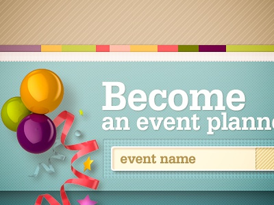 Event Planning web design site retro vintage builder event celebration balloon ribbon confetti