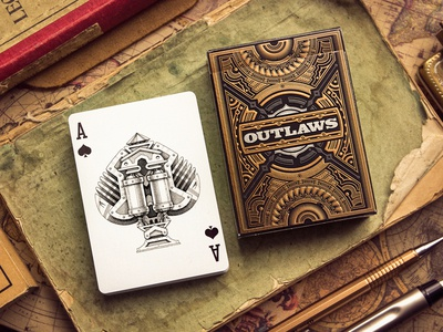 """Outlaws"" Playing Cards game wood paper deck sketch playing cards package design"