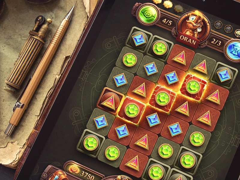 iOs Game / Match-3 game character sketch concept tile background paper icon match interface button ios