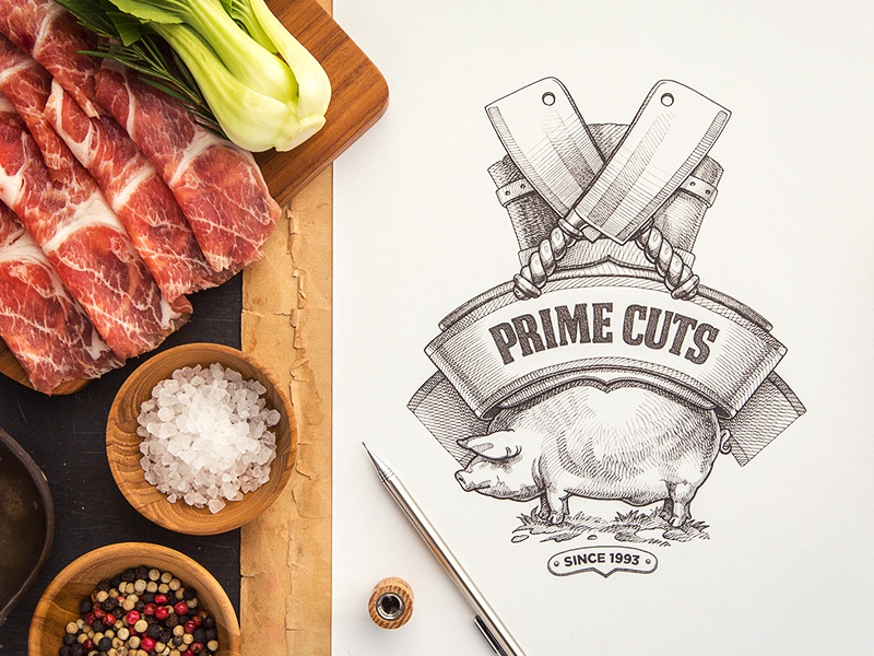 Prime Cuts paper ribbon pig logotype sketch identity branding food logo meat typography
