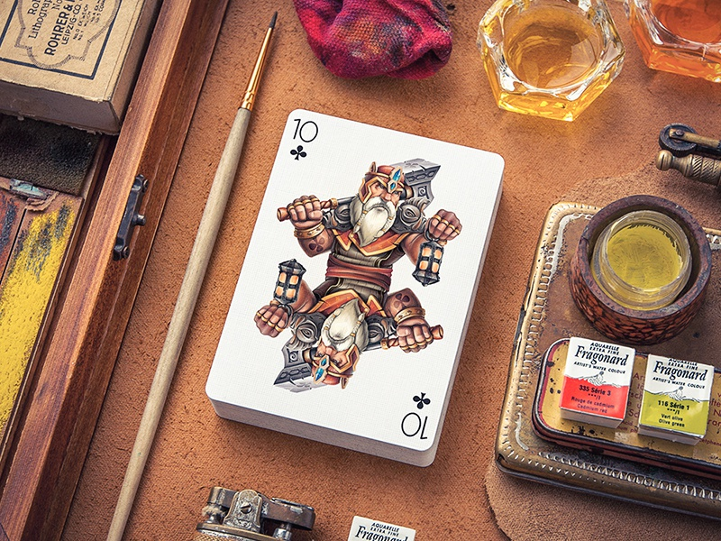 Playing Arts concept metal weapon character design art cards playing sketch deck paper game
