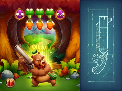 What a lovely day! weapon vegetable bear character art concept sketch ipad ios paper shooter game