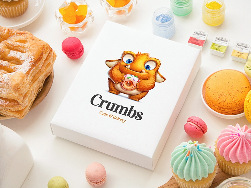 """""""Crumbs"""" Cafe & Bakery sweets bakery logo cafe fur concept design sketch paper character"""