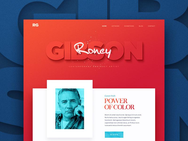 Roney Gibson menu typography site button navigation art web design