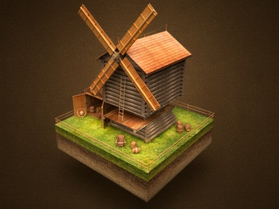 Mill icon siberia mill russian architecture house grass game web unit wood shed travel