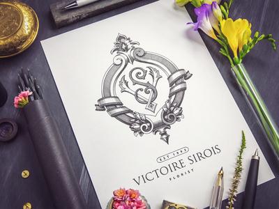 Monogram / Victoire Sirois sketch pencil flower stone paper badge lettering logo monogram