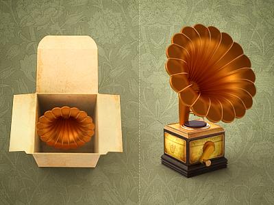 Invitation icon invitation music player old idea box vintage retro steampunk gramophone